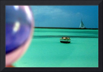 Palm Beach, Aruba through Glass Ball