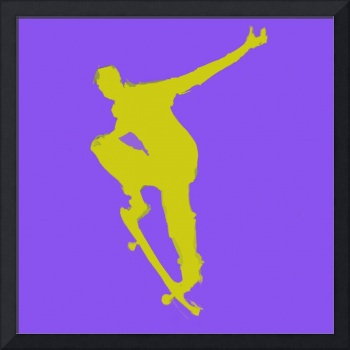 Skateboarder 1 . blue gold yellow (c)