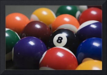 Close Up Of Pool Balls Racked On A Billiard Table