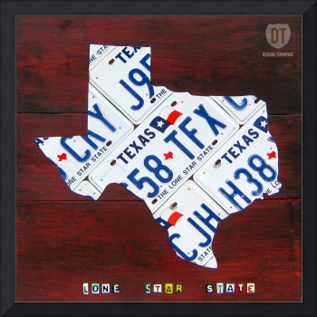 Texas Lone Star State License Plate Map