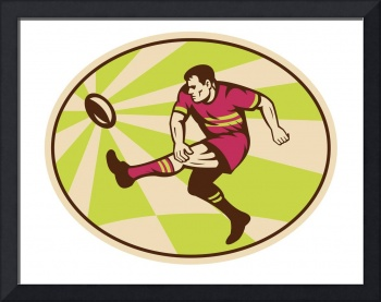 Rugby player kicking the ball retro