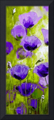 Violet Poppies in Green field
