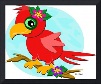 Red Parrot with a Flower
