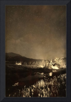Chapel On the Rock Stary Night Portrait Monotone