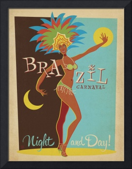 Carnaval, Brazil Retro Travel Poster