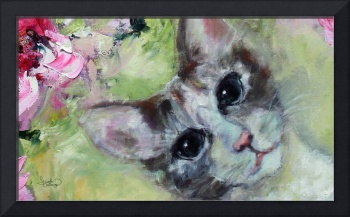 Cat Portrait In The Peonies 2