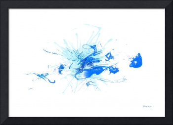 37a1 Blue Expressive Abstract Watercolor Painting
