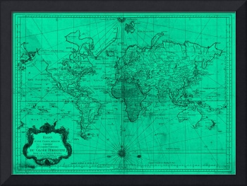 World Map (1778) Turquoise & Black