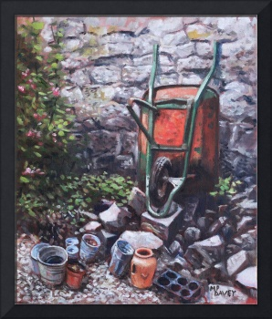 Still life wheelbarrow with collection of pots by