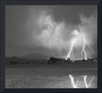 Lightning Striking Longs Peak Foothills 8CBW