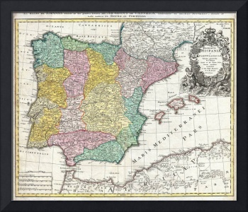 Map of Spain and Portugal by Johann Homann
