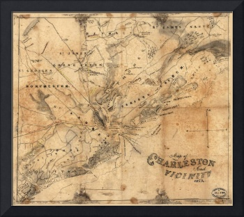 Vintage Map of Charleston South Carolina (1862)