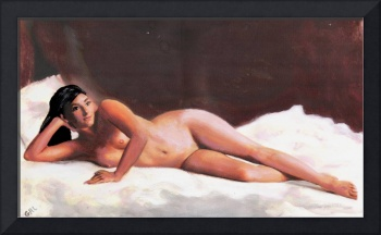 ORIGINAL FINE ART FEMALE NUDE RECLINING ON WHITE