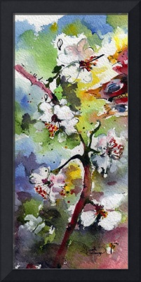 Spring Blossoms Watercolor and Ink by Ginette