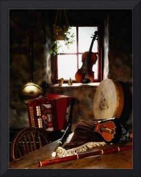 Traditional Musical Instruments In Old Cottage, Ir