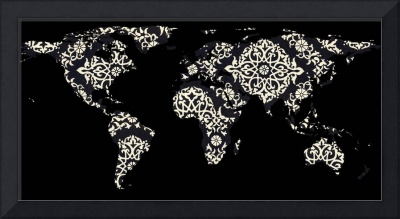 World Map Silhouette - Patterned Mandala 02