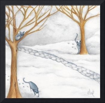 Three Gray Cats In Snow