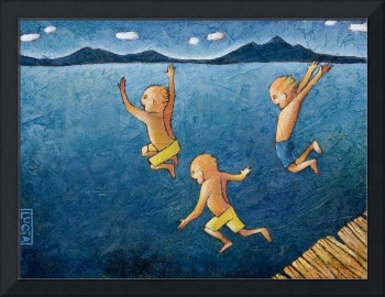 kids diving in the ocean