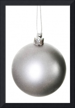 One silver christmas ball. Isolated on white.