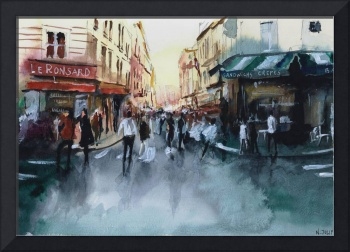 The crowd - Paris - Watercolor