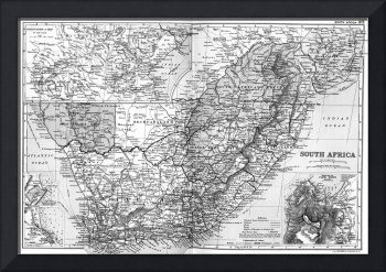 Vintage Map of South Africa (1892) BW