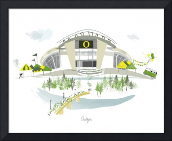 Autzen Stadium Modern Cityscape Illustration