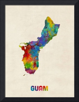 Guam Watercolor Map