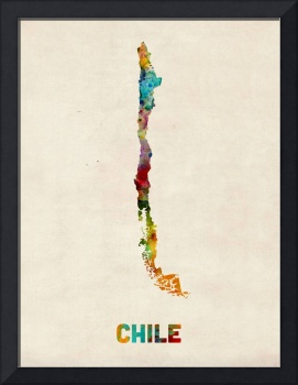 Chile Watercolor Map