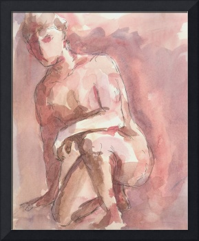Red Male Nude Figure Study