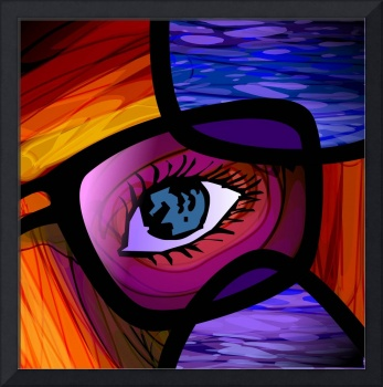 Digital painting of spectacle and eye background