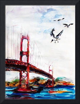 San Francisco Bridge and Birds