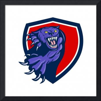 Black Panther Attacking Claws Crest Retro