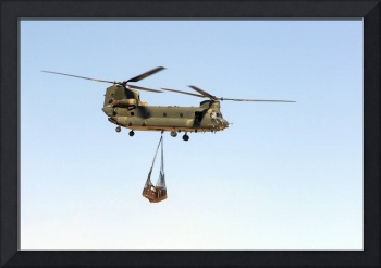 A CH 47 Chinook of the Royal Air Force transports