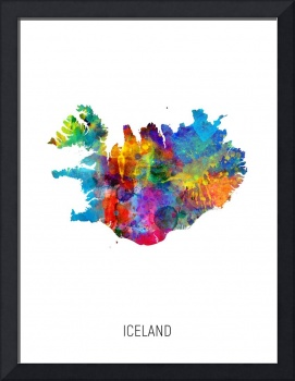 Iceland Watercolor Map