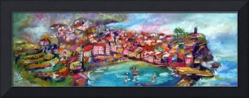 Vernazza Panoramic Oil Painting by Ginette