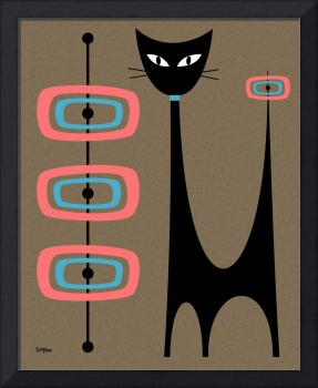 Atomic Cat with Pink and Turquoise Orbs