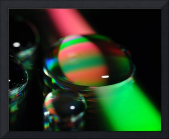 Red and green water beam