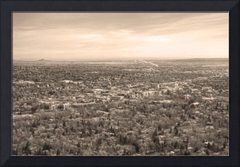 Downtown Boulder Colorado Morning Sepia View