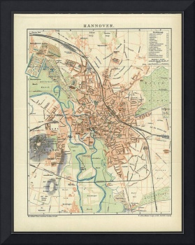 Vintage Map of Hanover Germany (1895)