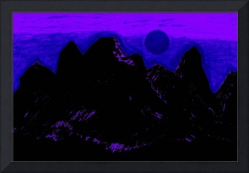 Moon Glow Over The Cascades In Purple 1