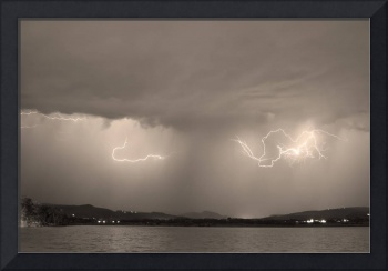 Lightning and Sepia Rain Over Rocky Mountain Footh