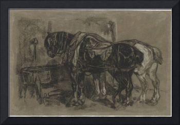 Alexandre-Gabriel Decamps~Two Draft Horses