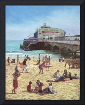 people on Bournemouth beach :Pier theatre
