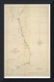 Vintage North Carolina and Virginia Coastal Map
