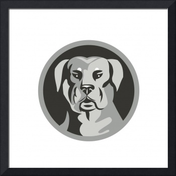 Rottweiler Guard Dog Head Circle Black and White