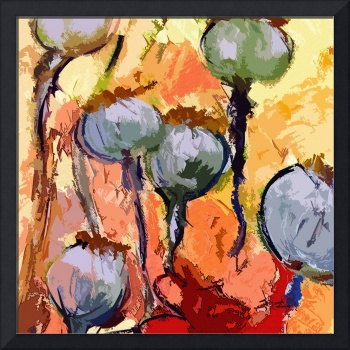 Abstract Poppy Pods Floral Painting