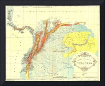 Vintage Geological Map of Columbia, Venezuela & Ec