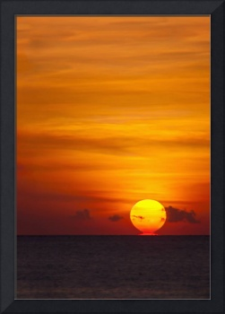 Indonesia, Bali, A Fiery Sunset Over Open Waters