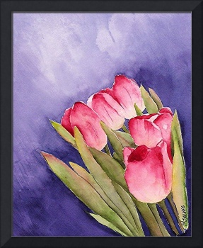 Tulips in the Wind Watercolor