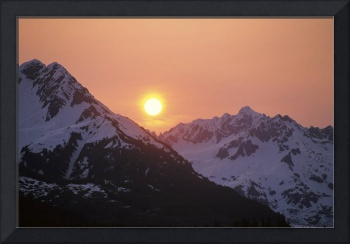 Sunrise over Snowcapped  Chugach Mtns SC AK Summer